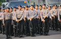 Armed police ready to secure some strategic places of crime solo central java indonesia Stock Photography