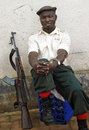 Armed security guard soldier city & gun,Africa Royalty Free Stock Photo