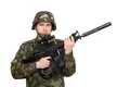 Armed soldier holding m studio isolated Stock Photography