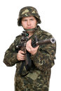 Armed soldier pointing m16. Upperhalf Royalty Free Stock Photo