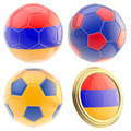 Armenia football team attributes isolated set of four soccer ball on white Royalty Free Stock Image