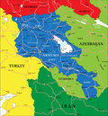 Armenia map highly detailed vector of with administrative regions main cities and roads Stock Photo