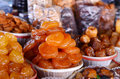 Armenian dried sweet fruits in market the Stock Image