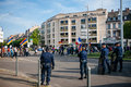 Armenian genocide th rememberance march in france strasbourg april police surveillance over protesters for remembrance year of as Stock Photography