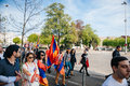 Armenian genocide th rememberance march in france strasbourg april protesters for remembrance year of as part of Royalty Free Stock Photography