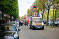 Armenian genocide th rememberance march in france strasbourg april protesters on truck and streets during the for remembrance year Royalty Free Stock Images