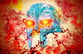 Armor helmet abstract painting of of fallen hero in blood spatters in war Stock Images