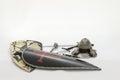 Toy Armour Sword Helmet Of Knight Templar White Background