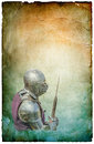 Armored knight with battle axe retro postcard on poster vintage paper background Royalty Free Stock Images