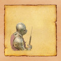 Armored knight with battle axe retro postcard on square vintage paper background Royalty Free Stock Images