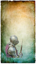 Armored knight with battle axe retro postcard on vertical vintage paper background Stock Photos