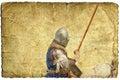 Armored knight on warhorse - retro postcard Royalty Free Stock Photo