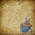 Armored knight on white warhorse retro postcard vintage paper background Stock Photo