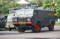 Armored vehicles police prepare weapons and now will secure presidential elections in the city of solo central java indonesia Royalty Free Stock Images