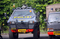 Armored vehicles police prepare weapons and now will secure presidential elections in the city of solo central java indonesia Royalty Free Stock Photo