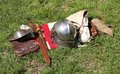 Armour clothes and weapons a medieval outfit of Stock Photography