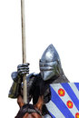 Armoured knight on warhorse with shield and lance isolated white Stock Photo