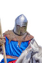 Armoured knight on white warhorse closeup Royalty Free Stock Photo