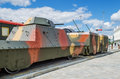Armoured train is in the Museum of military equipment Royalty Free Stock Photo