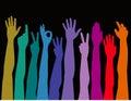 Arms colorful raised up Стоковые Фото