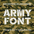 Army alphabet font. Scratched bold type letters and numbers on a seamless camo background.