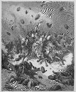 The army of the amorites is destroyed picture from holy scriptures old and new testaments books collection published in Stock Photo