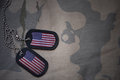 Army blank, dog tag with flag of united states of america on the khaki texture background. Royalty Free Stock Photo