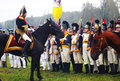Army commander and soldiers a riding a horse giving orders to his borodino historical reenactment battle at its th anniversary on Stock Photo