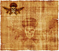 Army general skull parchment an old background featuring a human wearing an s hat with crossed rifles Stock Images