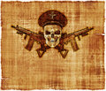 Army general skull parchment an old featuring a human wearing an s hat with crossed rifles Royalty Free Stock Photography