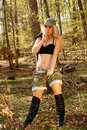 Army girl in forest Royalty Free Stock Photo