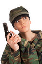 Army girl holding gun Royalty Free Stock Photography