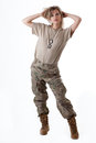 Army girl shot of a beautiful uniform conforms to special services soldiers of the nato countries shot in studio isolated on white Stock Photo