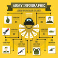 Army infographic concept, flat style