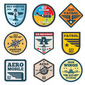 Army jet, aviation, air force vector labels, patch badges, emblems and logos set Royalty Free Stock Photo