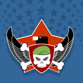 Army logo. skull is in charge on  shield. Against the backdrop o Royalty Free Stock Photo