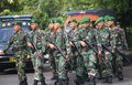 Army the marched upon will secure presidential elections in the city of solo central java indonesia Stock Images