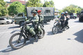 Army patrol the to secure the city in a presidential election in the city of solo central java indonesia Stock Photo