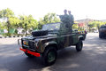 Army patrol the to secure the city in a presidential election in the city of solo central java indonesia Stock Image