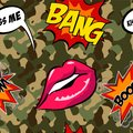 Army seamless pattern. Camouflage print with cool patches. Hand drawn camo fashion background with pop art badges
