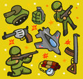Army set flat childish vector illustration Stock Photography