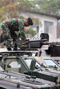 Army the set up weapons and armored vehicles now will secure presidential elections in the city of solo central java indonesia Stock Photos