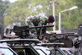 Army the set up weapons and armored vehicles now will secure presidential elections in the city of solo central java indonesia Stock Image