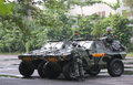Army the set up weapons and armored vehicles now will secure presidential elections in the city of solo central java indonesia Stock Photography