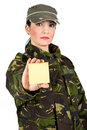Army soldier with post-it note Stock Images