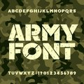 Army stencil alphabet font. Grunge bold letters and numbers on military camo background.