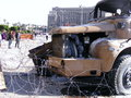 Army truck in tahrir square Egyptian revolution Royalty Free Stock Photo