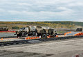 Army trucks ural and ural nizhny tagil russia sept truck on obstacle at firing range display of fighting opportunities of arms Stock Photos
