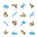 Army, weapon and arms Icons Stock Image