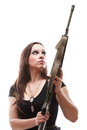 Army Woman With Gun - girl with rifle plastic Royalty Free Stock Photo
